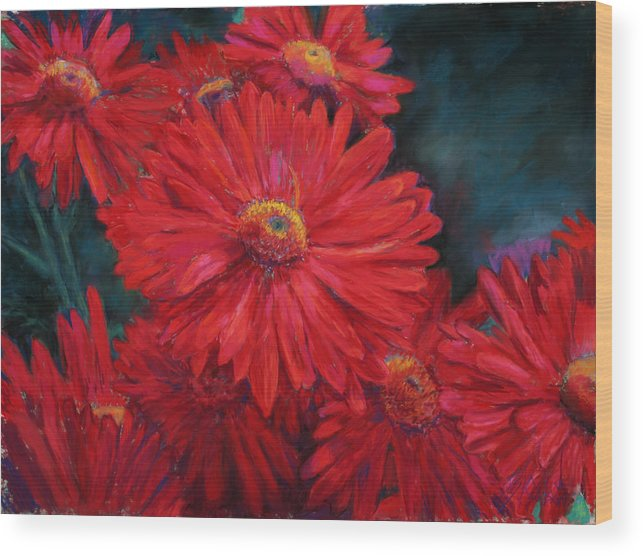Flower Wood Print featuring the painting The Passion Of Red by Billie Colson
