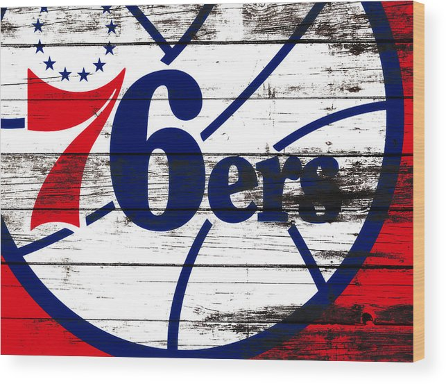 The Philadelphia 76ers Wood Print featuring the mixed media The Philadelphia 76ers 3e    by Brian Reaves