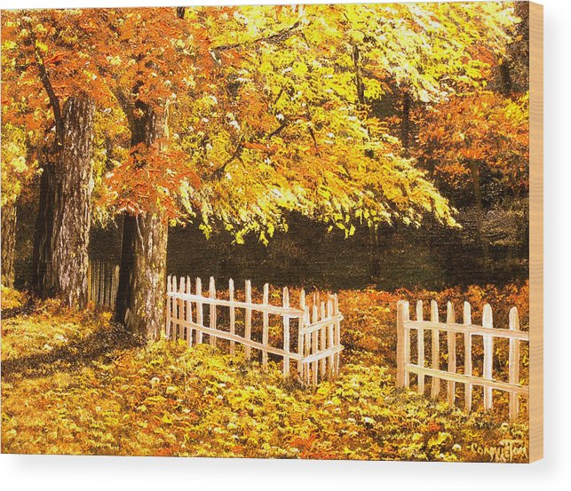 Connie Tom Wood Print featuring the painting The Picket Fence by Connie Tom