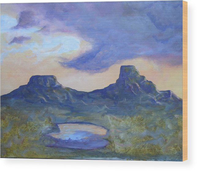 Landscape Wood Print featuring the painting The Rez After The Rain- Commision For Nigel And Laura by Ernie Scott- Dust Rising Studios