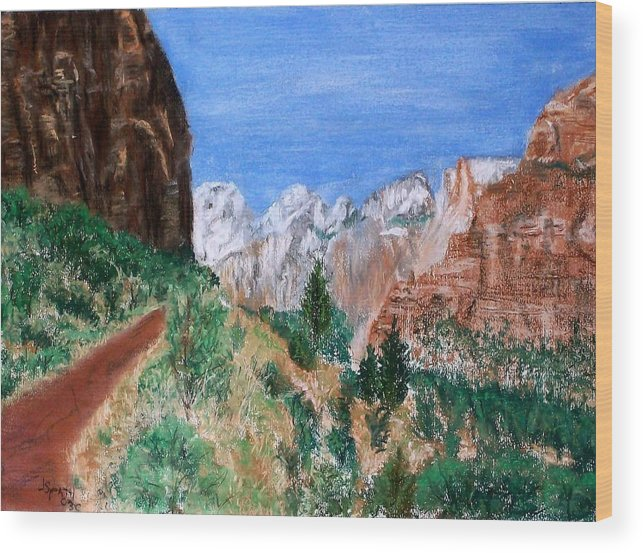Landscape Wood Print featuring the painting The Road To Zion by Jack Spath