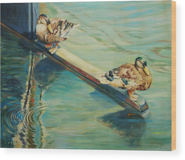 Marine Wood Print featuring the painting The Rudder by Rick Nederlof