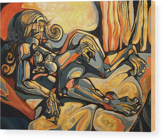 Surrealism Wood Print featuring the painting The Sleeping Muse by Darwin Leon