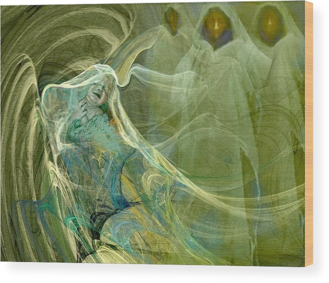 Green Wood Print featuring the drawing The Three Guardians by Patricia Banks