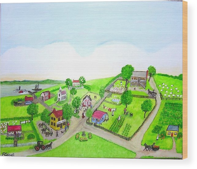 Australia Wood Print featuring the painting The Village - Colonial Style Art by Fran Caldwell