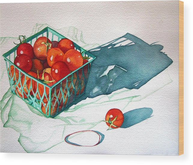 Tomatos Wood Print featuring the painting Tomato Basket by Gail Zavala