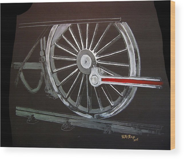 Trains Wood Print featuring the painting Train Wheels 2 by Richard Le Page
