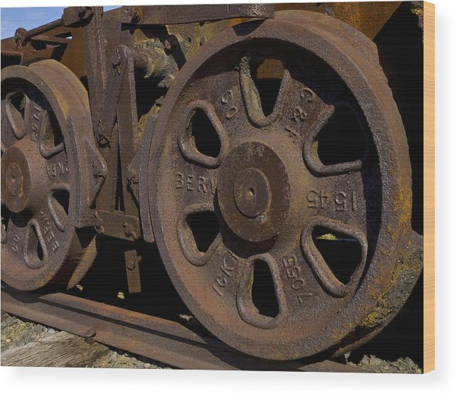 Eckley Village; Historic Structure; Luzerne County; Train Wheels Wood Print featuring the photograph Train Wheels At Eckley Village by Bob Hahn