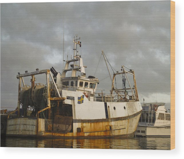 Ship Wood Print featuring the photograph Trawler by Dan Andersson