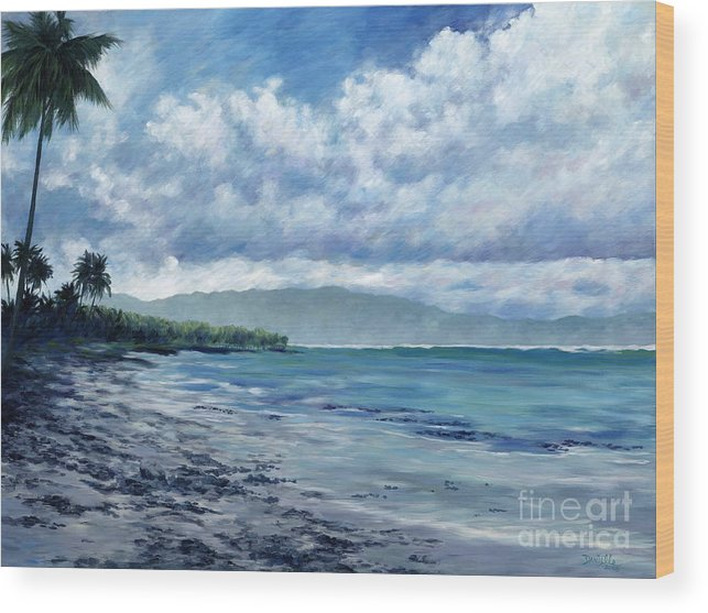 Seascape Wood Print featuring the painting Tropical Rain by Danielle Perry