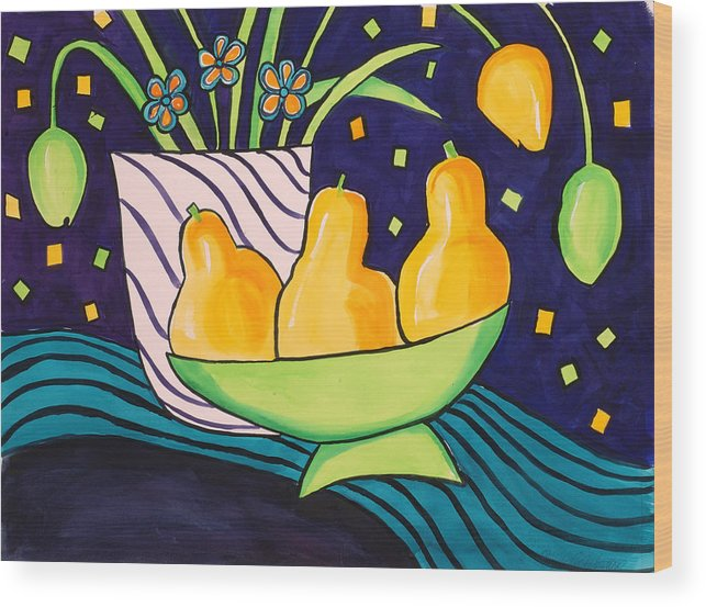 Painting Wood Print featuring the painting Tulips And 3 Yellow Pears by Carrie Allbritton