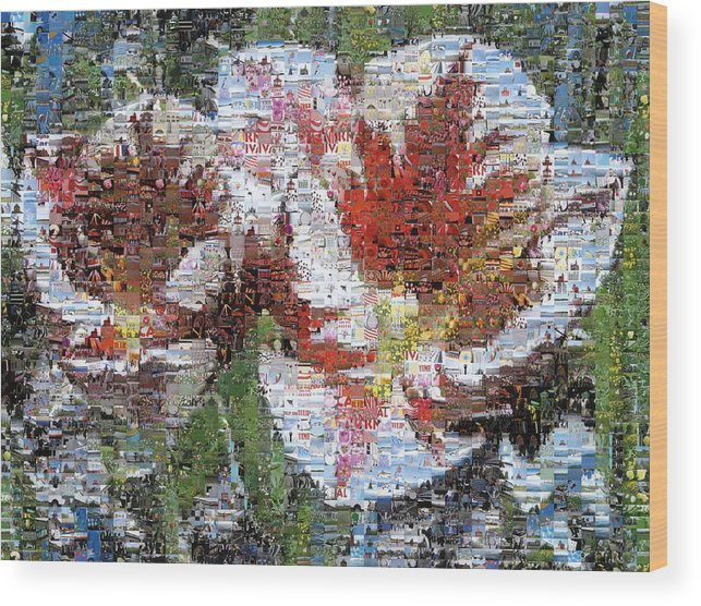 Lighthouse Wood Print featuring the photograph Tulips In Springtime Photomosaic by Michelle Calkins
