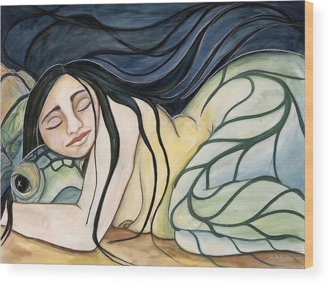 Woman Wood Print featuring the painting Turtle Daughter by Kimberly Kirk