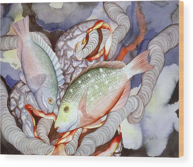 Sealife Wood Print featuring the painting Two Parrots by Liduine Bekman
