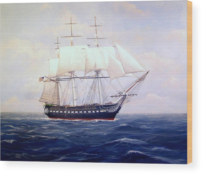 Marine Art Wood Print featuring the painting Uss Constitution by William H RaVell III