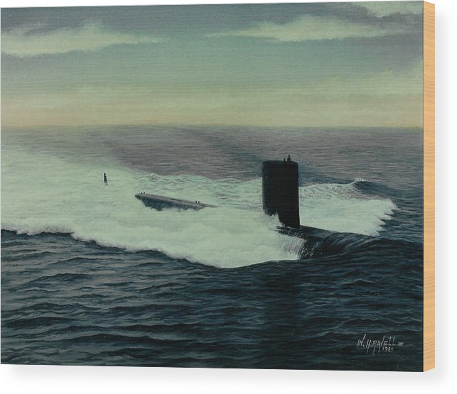 Submarine Wood Print featuring the painting Uss Topeka by William H RaVell III