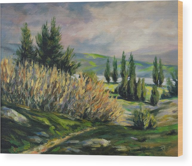 Trees Wood Print featuring the painting Valleyo by Rick Nederlof