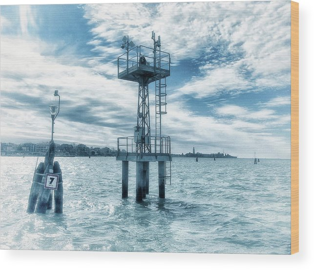 Venice Wood Print featuring the photograph Venice - Buoy And Mooring In The Lagoon by Philip Openshaw