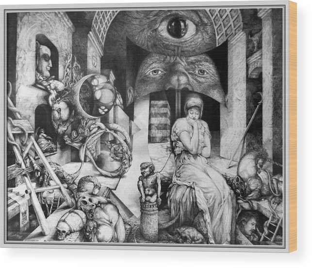 Surrealism Wood Print featuring the drawing Vindobona Altarpiece IIi - Snakes And Ladders by Otto Rapp