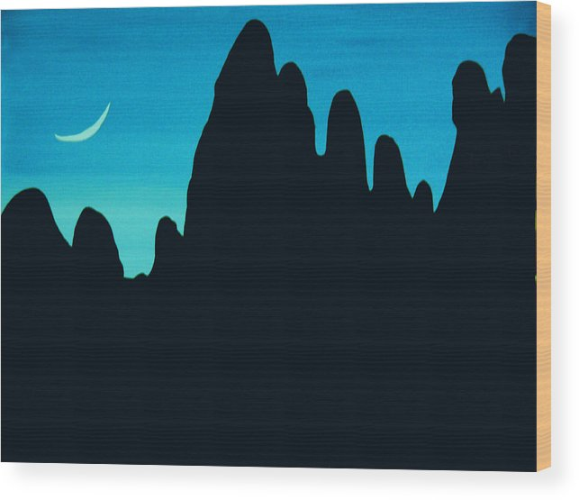 24 Inch Night Landscape Wood Print featuring the painting West by Linda Powell