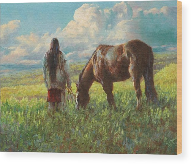Western Wood Print featuring the painting Western Skies by Jim Clements