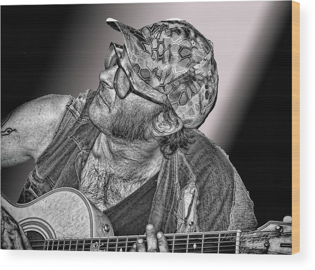 Guitar Wood Print featuring the photograph What's That Noise? by Madlyn Blom