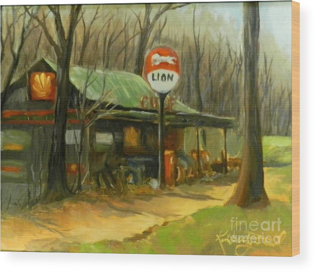Gas Station Wood Print featuring the painting When Gas Was A Quarter by Kimberly Daniel