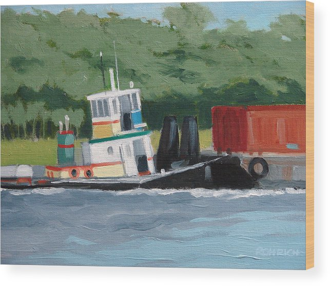 Work Boat Tug Waterscape Wood Print featuring the painting When Push Comes To Shove by Robert Rohrich