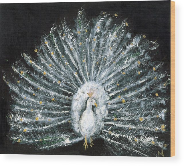 Peacock Wood Print featuring the painting White And Gold Peacock by Michela Akers