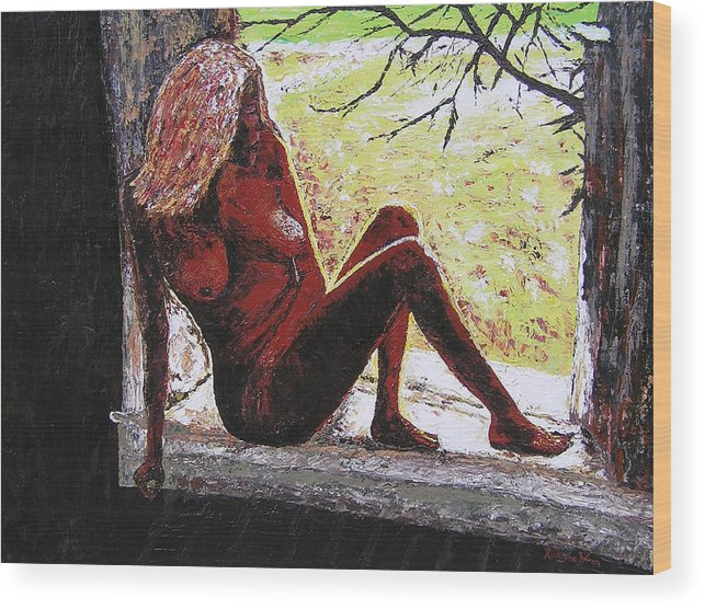 Portrait Wood Print featuring the painting Window View by Ricklene Wren