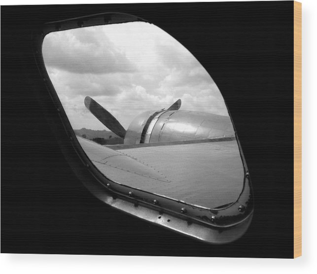 Airplane Wood Print featuring the photograph Wing And Window by Dan Holm