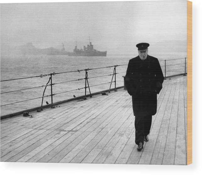 Winston Churchill Wood Print featuring the photograph Winston Churchill At Sea by War Is Hell Store