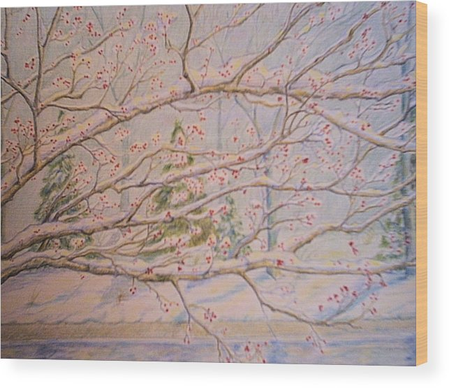 Landscape Wood Print featuring the drawing Winter In Eden Park by Patricia R Moore