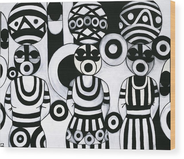 Cubism Wood Print featuring the painting Women With Calabashes IIi by Emeka Okoro