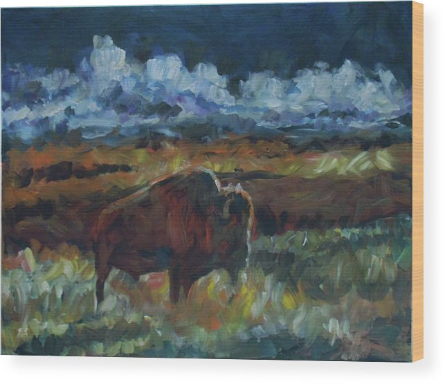 Buffalo Wood Print featuring the painting Yesterday by Susan Moore
