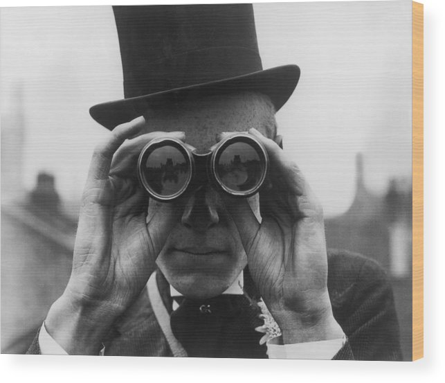 One Man Only Wood Print featuring the photograph Derby Spectator by Topical Press Agency