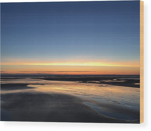 Wood Print featuring the photograph Beach Sunset, Blackpool, Uk 09/2017 by Michael Kane