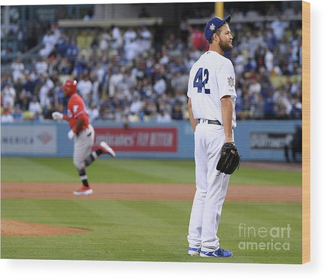 People Wood Print featuring the photograph Cincinnati Reds V Los Angeles Dodgers 4 by Harry How