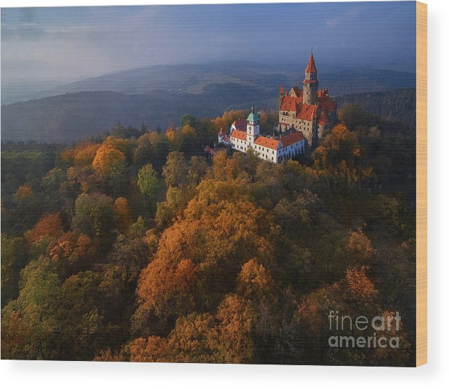 Magic Wood Print featuring the photograph Aerial View On Romantic Fairy Castle In by Martin Mecnarowski