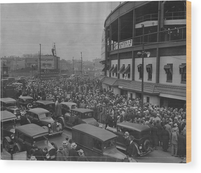Crowd Wood Print featuring the photograph Crowd At Wrigley During World Series by Chicago History Museum