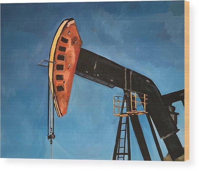 Pump Jack Wood Print featuring the painting Pump Jack by Norman Burnham