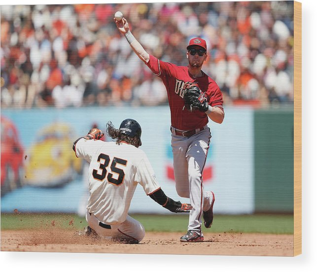 San Francisco Wood Print featuring the photograph Brandon Crawford And Chris Owings by Lachlan Cunningham