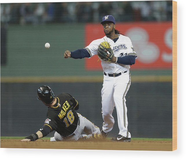 2nd Base Wood Print featuring the photograph Neil Walker And Rickie Weeks by Jeffrey Phelps
