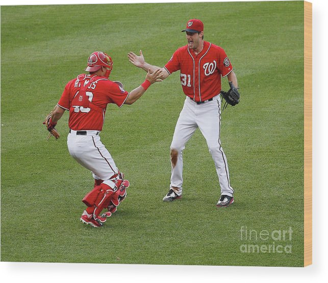Baseball Catcher Wood Print featuring the photograph Wilson Ramos And Max Scherzer by Rob Carr