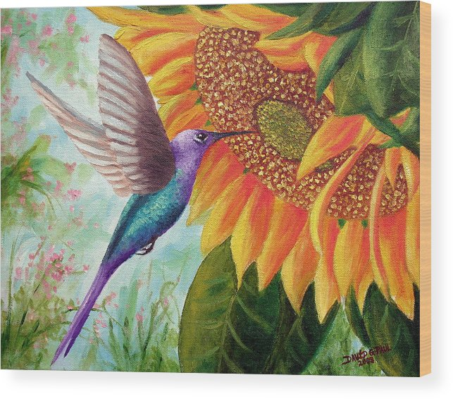 Hummingbird Wood Print featuring the painting Humming For Nectar by David G Paul
