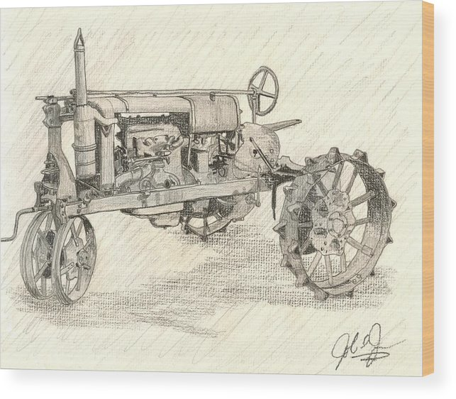 Tractor Wood Print featuring the drawing The Tractor by John Jones