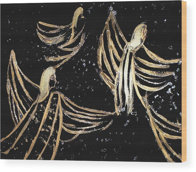 Angels Wood Print featuring the painting Dance Of The Angels by Michela Akers