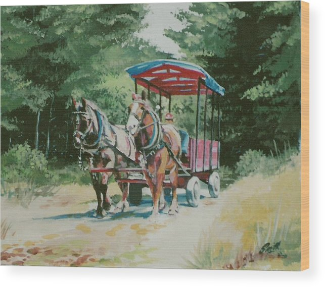 Horses Wood Print featuring the painting Giddyup by Barry Smith