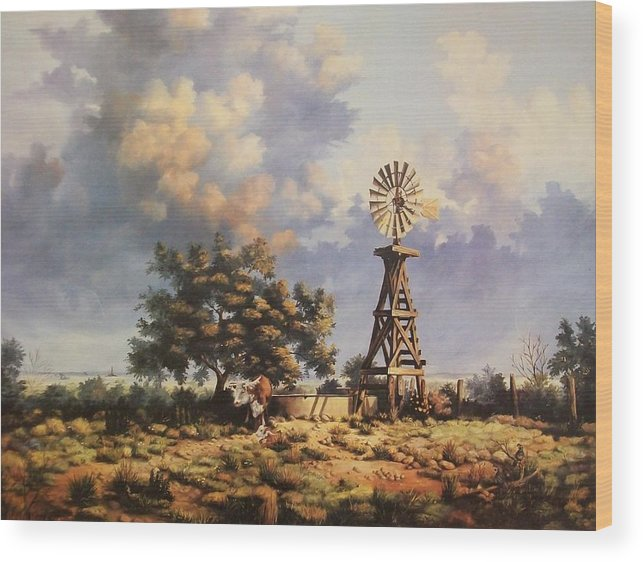 A New Mexico Landscape. Wood Print featuring the painting Lea County Memories by Wanda Dansereau