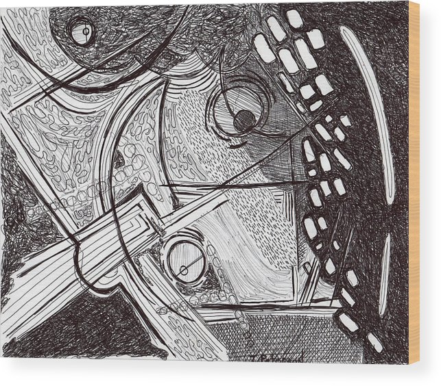 Drawing Wood Print featuring the drawing Minds Eye View by Todd Peterson